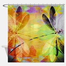 Colorful dragonfly reflection Shower Curtain