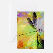 Colorful dragonfly reflection Greeting Cards