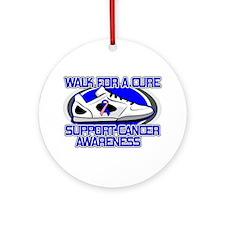 Male Breast Cancer Walk Ornament (Round)