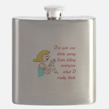 ONE DRINK AWAY Flask