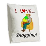 I Love Snogging Burlap Throw Pillow