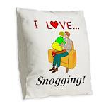 I Love Snogging Burlap Throw Pillow