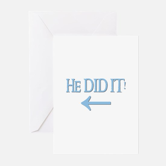 HE DID IT! (left) Greeting Cards (Pk of 10)