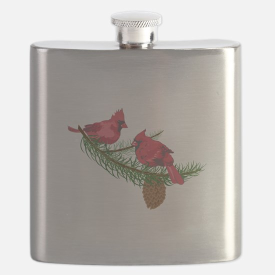 CARDINALS IN PINE TREE Flask