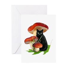 Black Cat Red Mushrooms Greeting Card