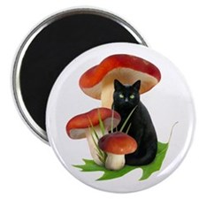 Black Cat Red Mushrooms Magnet