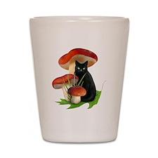 Black Cat Red Mushrooms Shot Glass