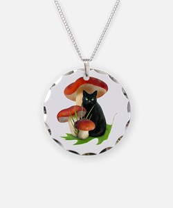 Black Cat Red Mushrooms Necklace