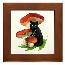 Black Cat Red Mushrooms Framed Tile