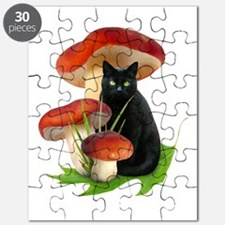 Black Cat Red Mushrooms Puzzle