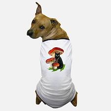 Black Cat Red Mushrooms Dog T-Shirt