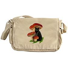 Black Cat Red Mushrooms Messenger Bag