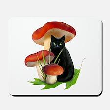 Black Cat Red Mushrooms Mousepad