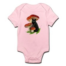Black Cat Red Mushrooms Infant Bodysuit