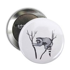 """RACCOON IN TREE 2.25"""" Button (10 pack)"""
