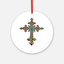 Jewel Cross Ornament (Round)