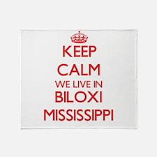 Keep calm we live in Biloxi Mississi Throw Blanket