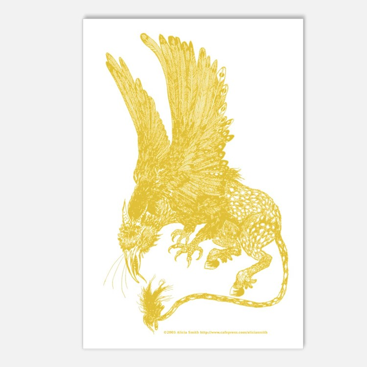 Hippogryph (Gold) Postcards (Package of 8)