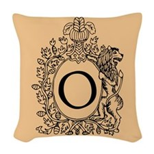 Letter O Cream Monogram initial Woven Throw Pillow