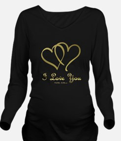 Entwined Gold Hearts Long Sleeve Maternity T-Shirt