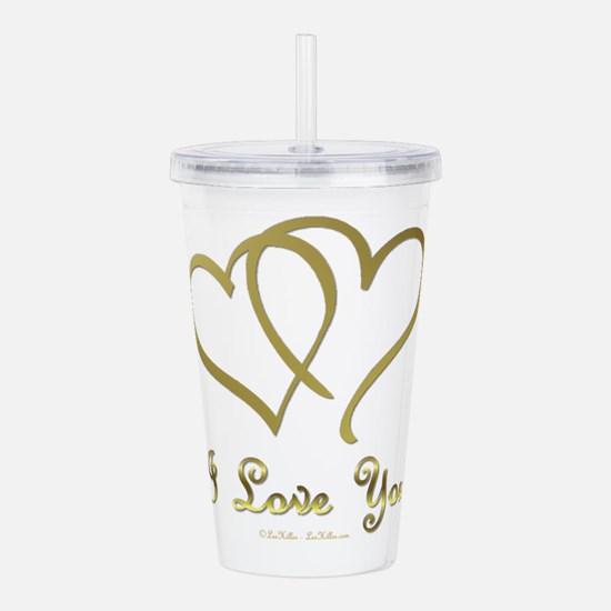 Entwined Gold Hearts Acrylic Double-wall Tumbler