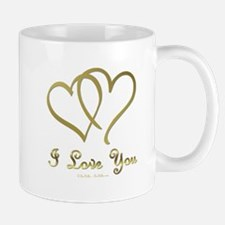 Entwined Gold Hearts Mugs