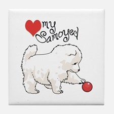 LOVE MY SAMOYED Tile Coaster