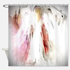 Abstract Angel in White Shower Curtain