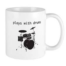 Plays With Drums (black) Mugs