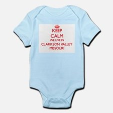 Keep calm we live in Clarkson Valley Mis Body Suit