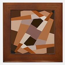 Brown Pattern, Geometric Shapes Framed Tile