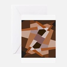 Brown Pattern, Geometric Shapes Greeting Cards
