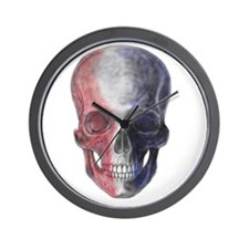 Skull Red, White, Blue Wall Clock