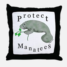 Protect Manatees Throw Pillow