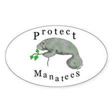 Protect Manatees Oval Decal