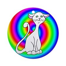 Groovy Cat Ornament (Round)
