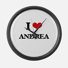 I Love Andrea Large Wall Clock