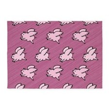Cute Flying Pigs with Wings 5'x7'Area Rug