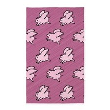 Cute Flying Pigs with Wings Area Rug