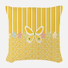 Golden Butterflies  Woven Throw Pillow