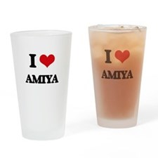 I Love Amiya Drinking Glass