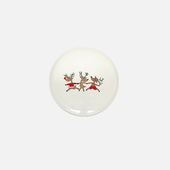 THREE DANCING REINDEERS Mini Button