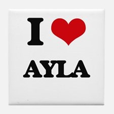 I Love Ayla Tile Coaster