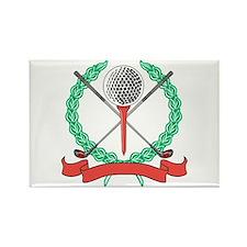 Golf Ball, Tee & Clubs Emblem Rectangle Magnet
