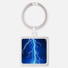 Blue Lightning Bolt Square Keychain