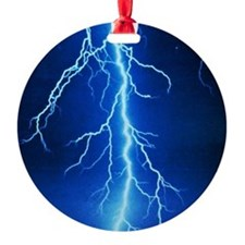 Blue Lightning Bolt Ornament