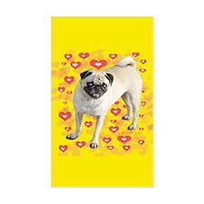 Love Pug Rectangle Decal