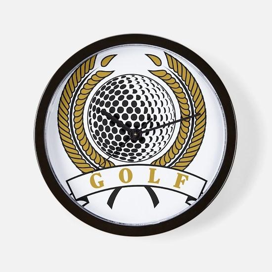 Classic Golf Emblem Wall Clock