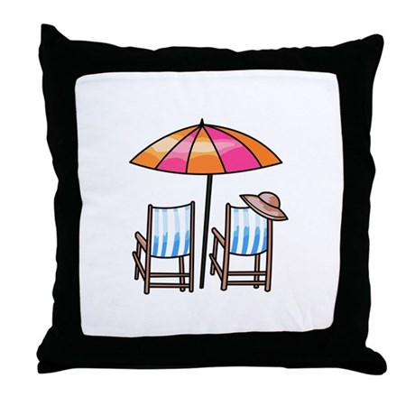 BEACH CHAIRS Throw Pillow by greatnotions7