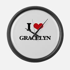 I Love Gracelyn Large Wall Clock